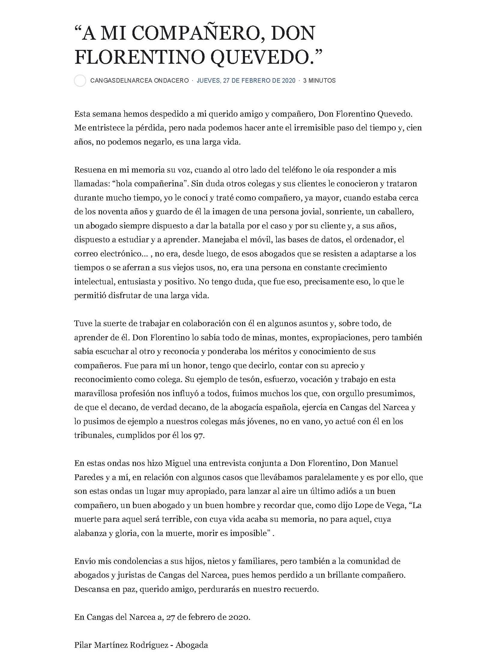 Despedida Florentino Quevedo