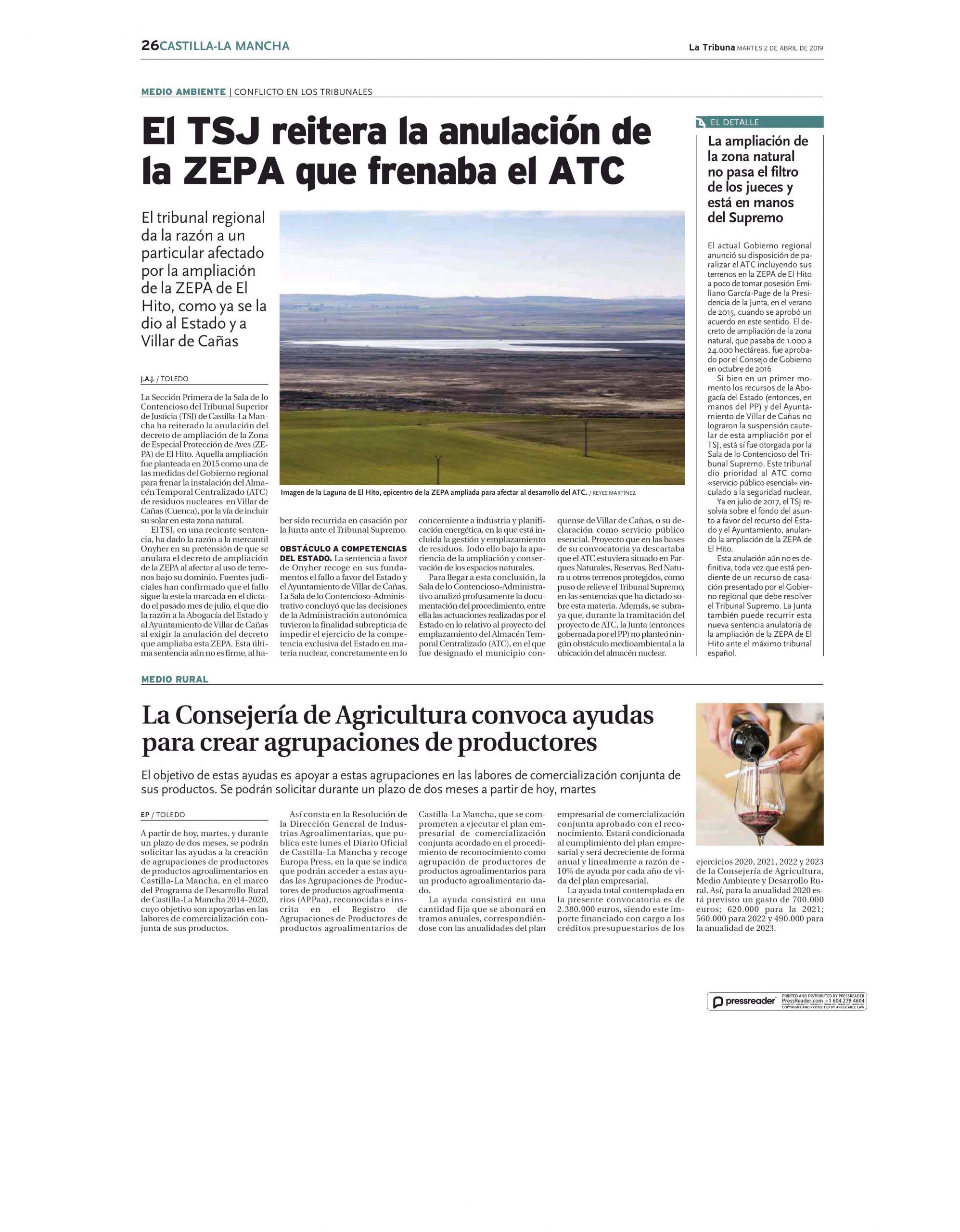 ANULACIÓN DE LA ZEPA